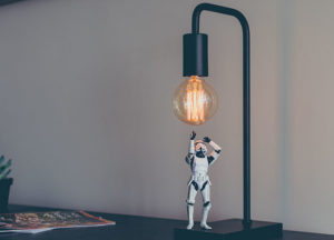 Storm trooper with a lamp